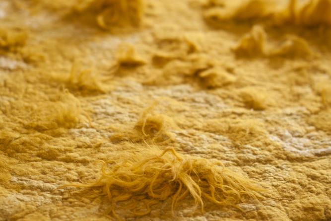 Round rug, natural dye (woad)